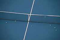 Flushing, NY - 22 August 2005 - Balls accumulate in the net during a practice session on the Arthur Ash court at the National Tennis Center in Flushing, Queens, NY, USA, during preparations for the 2005 US Open, 22 August 2005.