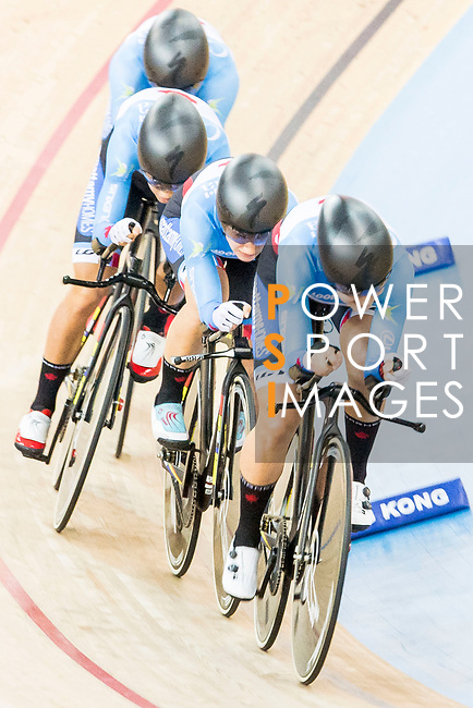 The team of Canada with Jasmin Duehring, Laura Brown, Annie Foreman-Mackey and Kirsti Lay competes in the Women's Team Pursuit - 1st Round as part of the 2017 UCI Track Cycling World Championships on 13 April 2017, in Hong Kong Velodrome, Hong Kong, China. Photo by Chris Wong / Power Sport Images