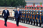 Palestinian president Mahmud Abbas and Chinese President Xi Jinping inspect Chinese honour guards during a welcome ceremony at the Great Hall of the People in Beijing, China, on July 18, 2017. Abbas is on an official visit to China from July 17-20. Photo by Thaer Ganaim