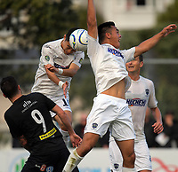 Auckland's Daewook Kim wins a header during the Oceania Football Championship final (second leg) football match between Team Wellington and Auckland City FC at David Farrington Park in Wellington, New Zealand on Sunday, 7 May 2017. Photo: Dave Lintott / lintottphoto.co.nz
