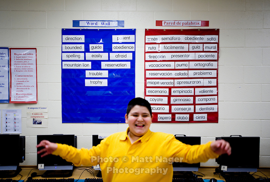 Jose Angel (cq, age 10) stands in front of two boards with both English and Spanish words of the week in Gilda Martinez's third grade bi-lingual class at C. M. Macdonnell Elementary School in Laredo, Texas, US, Tuesday, Dec., 8, 2009. With over 95 percent of the population as Hispanic Spanish speakers, Laredo ranked the lowest in literacy rates in the 2000 US census. Today there are a number of bi-lingual and dual langauge classes set up to help students and adults learn english...PHOTOS/ MATT NAGER