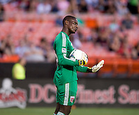 D.C. United goalkeeper Bill Hamid tells his team to settle down during a Major League Soccer game at RFK Stadium in Washington, DC.  D.C. United defeated San Jose Earthquakes, 1-0.