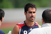 New York Red Bulls Juan Pablo Angel (9) is interviewed after a New York Red Bulls practice on the campus of Montclair State University in Upper Montclair, NJ, on July 16, 2010.