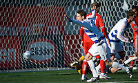 11 April 2009:  FC Dallas defender Drew Moor #3 celebrates the equalizer from Pablo Ricchetti during an MLS game at BMO Field in Toronto between FC Dallas and Toronto FC. The game ended in a 1-1 draw.