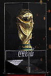 The FIFA World Cup trophy is seen during the first stop of the FIFA World Cup Trophy Tour in the West Bank city of Ramallah on November 10, 2013. The trophy, 36.8 cm high made of Solid 18-carat gold, will travel through 89 countries in 267 days. Photo by Issam Rimawi