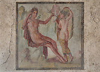 Fresco of Apollo and Daphne, on the South wall of a small room off the atrium of the Casa dell Efebo, or House of the Ephebus, Pompeii, Italy. The fresco is in the Fourth Style of Roman wall painting, 60-79 AD, a complex narrative style. This is a large, sumptuously decorated house probably owned by a rich family, and named after the statue of the Ephebus found here. Pompeii is a Roman town which was destroyed and buried under 4-6 m of volcanic ash in the eruption of Mount Vesuvius in 79 AD. Buildings and artefacts were preserved in the ash and have been excavated and restored. Pompeii is listed as a UNESCO World Heritage Site. Picture by Manuel Cohen