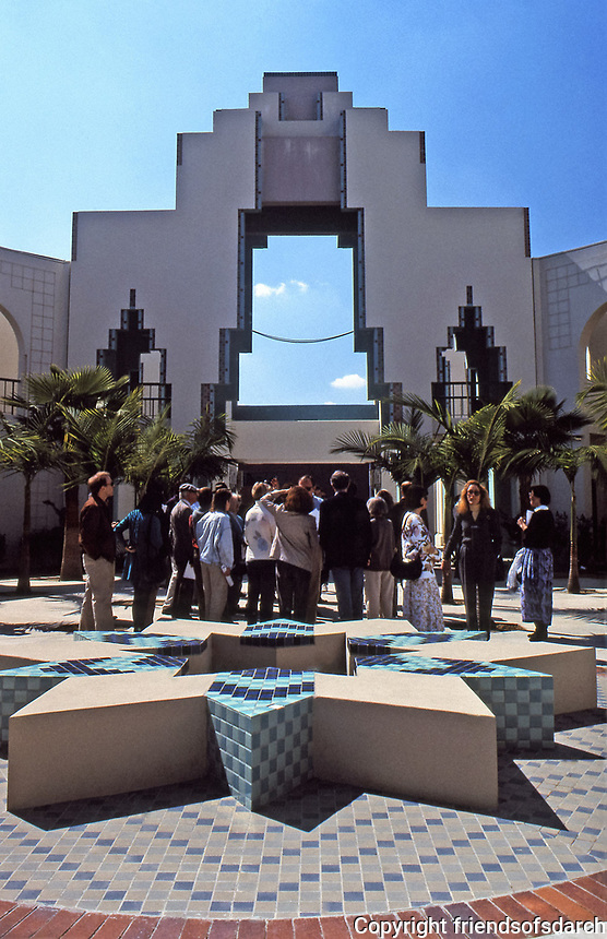 Chalres Moore:  Beverly Hills Civic Center. Courtyard with Art Deco features. Photo--July 1991.