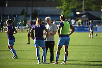 Kansas City, MO - Saturday May 28, 2016: Orlando Pride head coach Tom Sermanni talks to defenders Monica Hickman Alves (21) and Toni Pressley (3) before the game.  FC Kansas City defeated Orlando Pride 2-0 during a regular season National Women's Soccer League (NWSL) match at Swope Soccer Village.