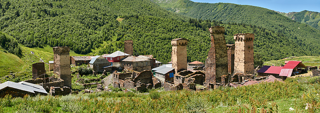 Stone medieval Svaneti tower houses of Murkmeli, Upper Svaneti, Samegrelo-Zemo Svaneti, Mestia, Georgia.  Murkmeli is a village near Ushguli is a group of four remote villages. At 2,200 m (7217 ft) above sea level in the Caucasus mountains these are the highest inhabited villages in Europe. Murkmeli has well preserved stone Svanetian defensive tower houses attached to stone family houses. A UNESCO World Heritage Site.