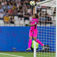 GRENOBLE, FRANCE - JUNE 18: Nicole Mcclure #13 of the Jamaican National Team. Crossbar during a game between Jamaica and Australia at Stade des Alpes on June 18, 2019 in Grenoble, France.