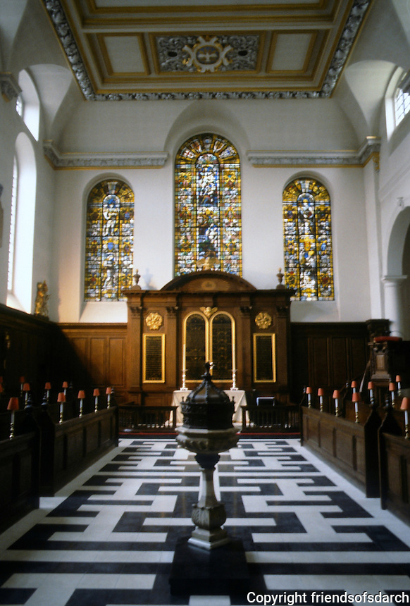 Sir Christopher Wren: St. Vedast, London. 1670-73. Interior of nave.