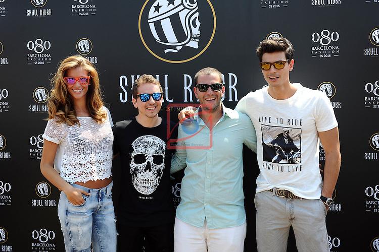 080 Barcelona Fashion SS 2016.<br /> Presentation of Skull Rider Sunglasses.<br /> Desiree Cordero, Jorge Lorenzo, Ruben Vinagre &amp; Javier de Miguel.