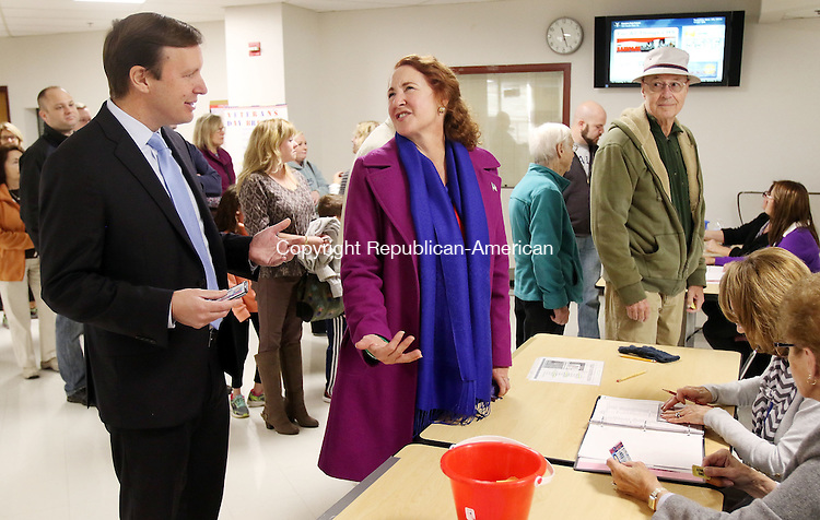 CHESHIRE CT. 08 November 2016-110816SV04-Rep. Elizabeth H. Esty, D-5th District and Sen. Christopher S. Murphy, D-Conn., vote at Cheshire High School in Cheshire Tuesday.<br /> Steven Valenti Republican-American