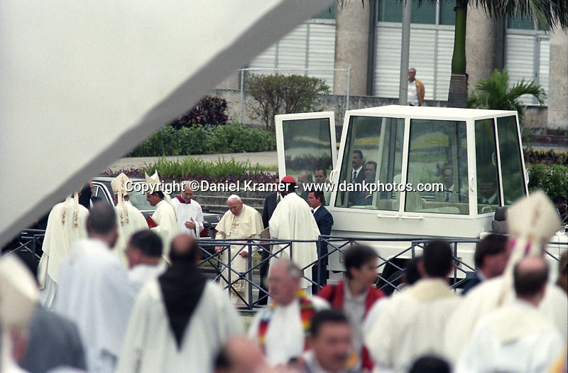 Pope John Paul II makes his way from the Popemobile to Revolution Square in Havana where he will give Mass during his historic visit to Cuba January 21-25, 1998.