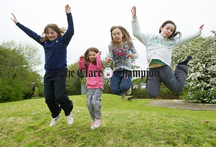 Zoe Kirkby, Tara O Brien, Ellen O Brien and Tina O Donnell in flying form at the Newmarket On Fergus Family Fun Day in O Regan Park. Photograph by John Kelly.