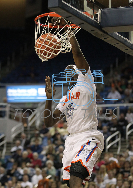 Shabazz Muhammad dunks during a semi-final game in the NIAA 4A State Basketball Championships between Bishop Gorman and Douglas high schools at Lawlor Events Center in Reno, Nev, on Thursday, Feb. 23, 2012. .Photo by Cathleen Allison