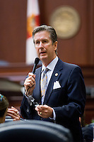 TALLAHASSEE, FLA. 5/3/13-SESSIONEND050313CH-Rep. Jim Boyd, R-Bradenton, talks about the election reform bill during the final day of the legislative session May 3, 2013 at the Capitol in Tallahassee. The House passed the bill and sent it on to the Senate...COLIN HACKLEY PHOTO
