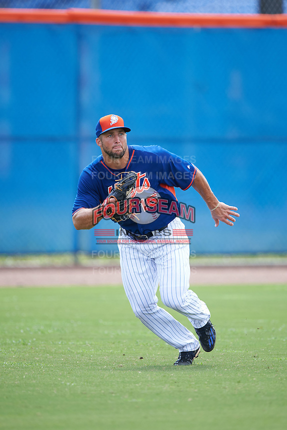 New York Mets outfielder Tim Tebow (15) breaks on a foul ball down the line during an Instructional League game against the Miami Marlins on September 29, 2016 at Port St. Lucie Training Complex in Port St. Lucie, Florida.  (Mike Janes/Four Seam Images)