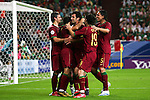 21 June 2006: Portugal players congratulate Maniche (POR) (second from left) on his 6th minute goal, which gave Portugal a 1-0 lead. Portugal defeated Mexico 2-1 at Veltins Arena in Gelsenkirchen, Germany in match 39, a Group D first round game, of the 2006 FIFA World Cup.  With the win, Portugal won the group, but both teams will advance to second round play.