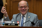 Representative Steve Cohen, Democrat of Tennessee, holds a piece of chicken from a bucket of Kentucky Fried Chicken he brought with him prior to a hearing scheduled for Attorney General William Barr to testify about the Mueller Report before the United States House or Representatives Judiciary Committee on Capitol Hill in Washington, D.C. on May 2, 2019. Credit: Alex Edelman / CNP