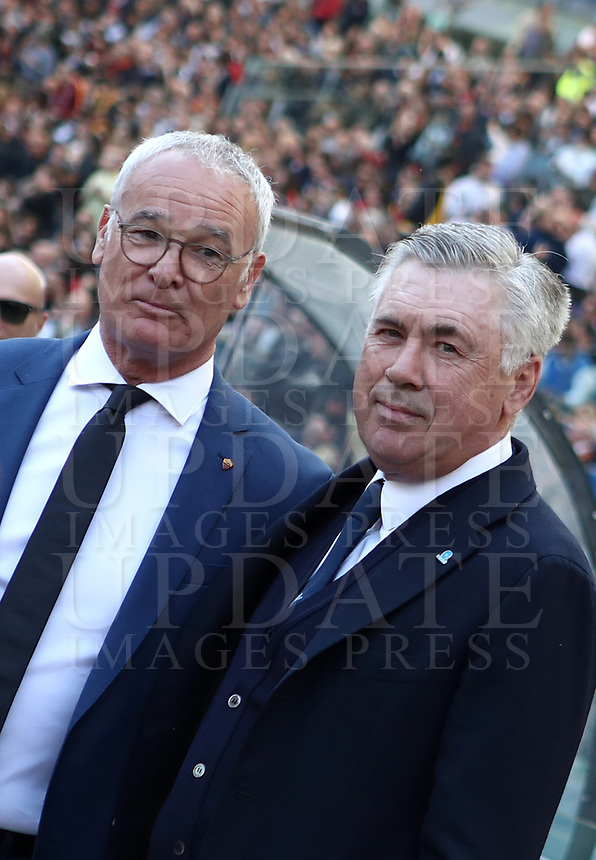 Football, Serie A: AS Roma - SSC Napoli, Olympic stadium, Rome, March 31, 2019. <br /> Roma's coach Claudio Ranieri (l) and Napoli's coach Carlo Ancelotti (r) prior to to the Italian Serie A football match between Roma and Napoli at Olympic stadium in Rome, on March 31, 2019.<br /> UPDATE IMAGES PRESS/Isabella Bonotto
