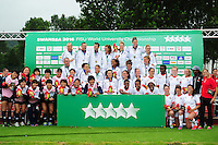 The Japan, France and Canada Women's teams pose for a photo after the competition. FISU World University Championship Rugby Sevens Closing Ceremony on July 9, 2016 at the Swansea University International Sports Village in Swansea, Wales. Photo by: Patrick Khachfe / Onside Images