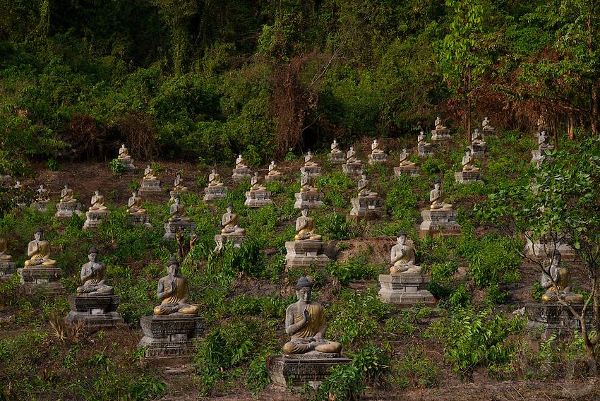 A field of thousands of Buddha statues near Hpa An, Myanmar Burma