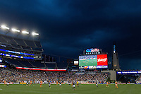 Foxborough, Massachusetts - August 15, 2015:  The New England Revolution (blue and white) vs Houston Dynamo (orange/white) at a Major League Soccer (MLS) match at Gillette Stadium.