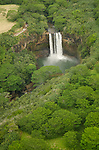 Aerial view of Wailua Falls, Kauai, Hawaii