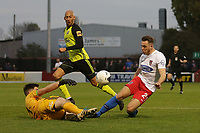 Ben House of Dagenham and Redbridge collides with Mitch Walker of Aldershot Town during Dagenham & Redbridge vs Aldershot Town, Vanarama National League Football at the Chigwell Construction Stadium on 16th November 2019