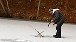 THOMASTON, CT - 31 DECEMBER 2016 - 123116JW03.jpg -- Nathan White of Thomaston spends some of his remaining time in 2016 ice fishing at Black Rock State Park Saturday afternoon. Jonathan Wilcox Republican-American