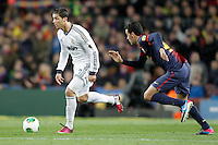 FC Barcelona's Sergio Busquets (r) and Real Madrid's Cristiano Ronaldo during Copa del Rey - King's Cup semifinal second match.February 26,2013. (ALTERPHOTOS/Acero) /NortePhoto