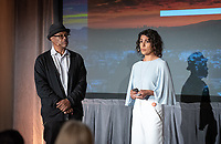 Erica Nuno '00 and Bob Johnson '77<br /> Occidental College launched the public phase of the Oxy Campaign For Good, a comprehensive effort to raise $225 million to strengthen its financial aid endowment and academic and co-curricular programs, at a May 18, 2019 Campaign Leadership Summit on the Occidental campus. More than 100 Oxy community members participated, getting a first-hand look at current programs and celebrated what the Campaign means for the future of Oxy.<br /> (Photo by Marc Campos, Occidental College Photographer)