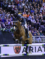 OMAHA, NEBRASKA - APR 2: Keean White rides For Freedom Z during the Longines FEI World Cup Jumping Final at the CenturyLink Center on April 2, 2017 in Omaha, Nebraska. (Photo by Taylor Pence/Eclipse Sportswire/Getty Images)
