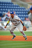 Biloxi Shuckers third baseman Yadiel Rivera (13) during the second game of a double header against the Pensacola Blue Wahoos on April 26, 2015 at Pensacola Bayfront Stadium in Pensacola, Florida.  Pensacola defeated Biloxi 2-1.  (Mike Janes/Four Seam Images)