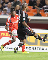 Julius James #2 of D.C. United blocks a shot by Nicholas Lindsay #37 of Toronto FC during an MLS match that was the final appearance of D.C. United's Jaime Moreno at RFK Stadium, in Washington D.C. on October 23, 2010. Toronto won 3-2.