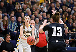 SIOUX FALLS, SD: MARCH 12:  Presley O'Farrell #35 of Augustana readies her shot over Central Missouri defender Kelsey Williams #13 during the 2018 NCAA Division II Women's Basketball Central Region Championship Monday at the Elmen Center in Sioux Falls, S.D. (Photo by DIck Carlson/Inertia)