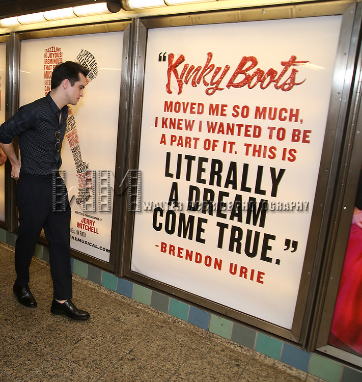 """Brendon Urie unveils His Subway Billboards For Broadway's """"Kinky Boots""""  at the 42nd Street Times Square Subway Station on July 20, 2017 in New York City."""