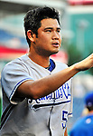 21 June 2010: Kansas City Royals pitcher Bruce Chen prepares for the start of play against the Washington Nationals at Nationals Park in Washington, DC. The Nationals edged out the Royals 2-1 to take the first game of their 3-game interleague series and snap a 6-game losing streak. Mandatory Credit: Ed Wolfstein Photo