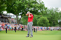 Jon Rahm (ESP) reacts to barely missing his birdie putt on 18 during round 4 of the Dean &amp; Deluca Invitational, at The Colonial, Ft. Worth, Texas, USA. 5/28/2017.<br /> Picture: Golffile | Ken Murray<br /> <br /> <br /> All photo usage must carry mandatory copyright credit (&copy; Golffile | Ken Murray)