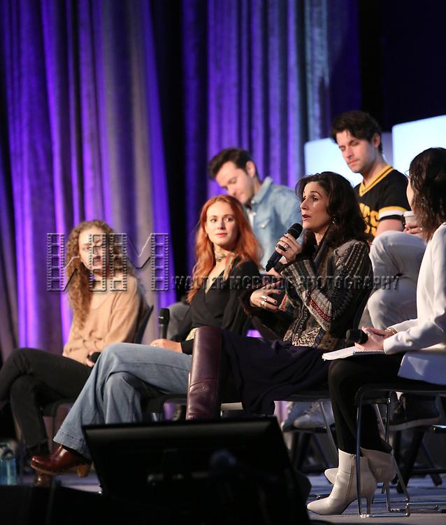 Matthew Hydzik, Micaela Diamond, Michael Campayno, Teal Wicks, Stephanie J. Block on stage during Broadwaycon at New York Hilton Midtown on January 11, 2019 in New York City.