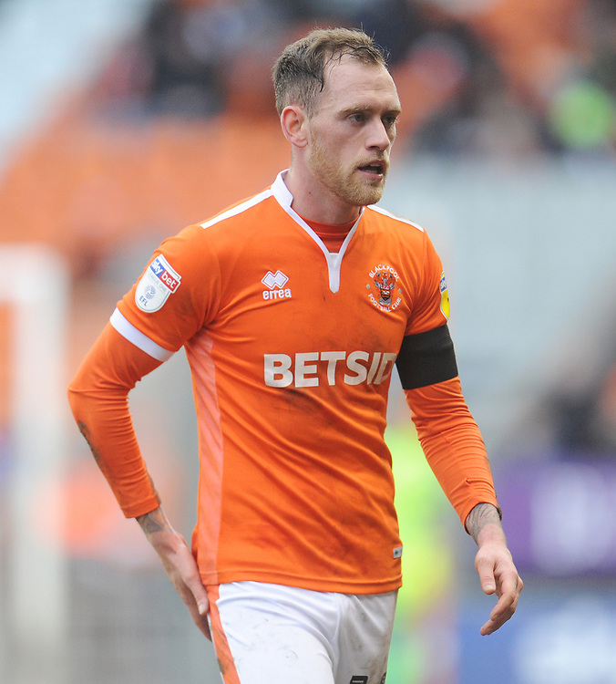 Blackpool's Harry Pritchard<br /> <br /> Photographer Kevin Barnes/CameraSport<br /> <br /> The EFL Sky Bet League One - Blackpool v Walsall - Saturday 9th February 2019 - Bloomfield Road - Blackpool<br /> <br /> World Copyright © 2019 CameraSport. All rights reserved. 43 Linden Ave. Countesthorpe. Leicester. England. LE8 5PG - Tel: +44 (0) 116 277 4147 - admin@camerasport.com - www.camerasport.com
