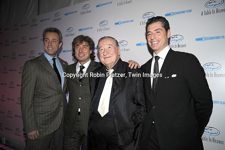 "Mario,  Marco, Sirio Maccioni and Mauro Maccioni  ..posing for photographers at the party for The HBO Documentary  ""Le Cirque: A Table in Heaven"" at Le Cirque..in New York City on December 3, 2008.....Robin Platzer, Twin Images"