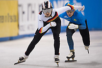 1st February 2019, Dresden, Saxony, Germany; World Short Track Speed Skating; 500 meter men in the EnergieVerbund Arena. Florian Becker from Germany on the track.