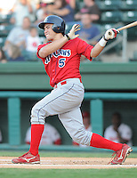 July 29, 2009: Catcher Travis D'Arnaud (5) of the Lakewood BlueClaws, Class A affiliate of the Philadelphia Phillies, in a game at Fluor Field at the West End in Greenville, S.C. Photo by: Tom Priddy/Four Seam Images