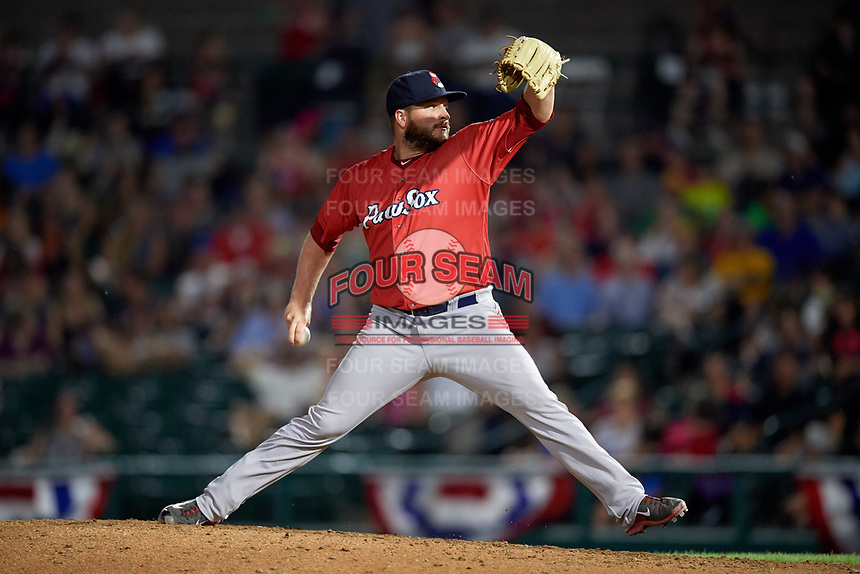 Pawtucket Red Sox relief pitcher Ryan Brasier (18) delivers a pitch during a game against the Rochester Red Wings on July 4, 2018 at Frontier Field in Rochester, New York.  Pawtucket defeated Rochester 6-5.  (Mike Janes/Four Seam Images)