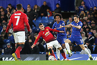 Davide Zappacosta of Chelsea takes the ball past Manchester United's Andreas Pereira during Chelsea vs Manchester United, Emirates FA Cup Football at Stamford Bridge on 18th February 2019
