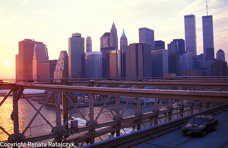 View on the World Trade Center in Manhattan, New York, from the Brooklyn Bridge at sunset.