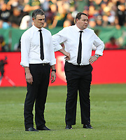 PRETORIA, SOUTH AFRICA - OCTOBER 06: Scott McLeod (Assistant Defence Coach) of the New Zealand (All Blacks) with Steve Hansen (Head Coach) of the New Zealand (All Blacks) during the Rugby Championship match between South Africa Springboks and New Zealand All Blacks at Loftus Versfeld Stadium. on October 6, 2018 in Pretoria, South Africa. Photo: Steve Haag / stevehaagsports.coms)
