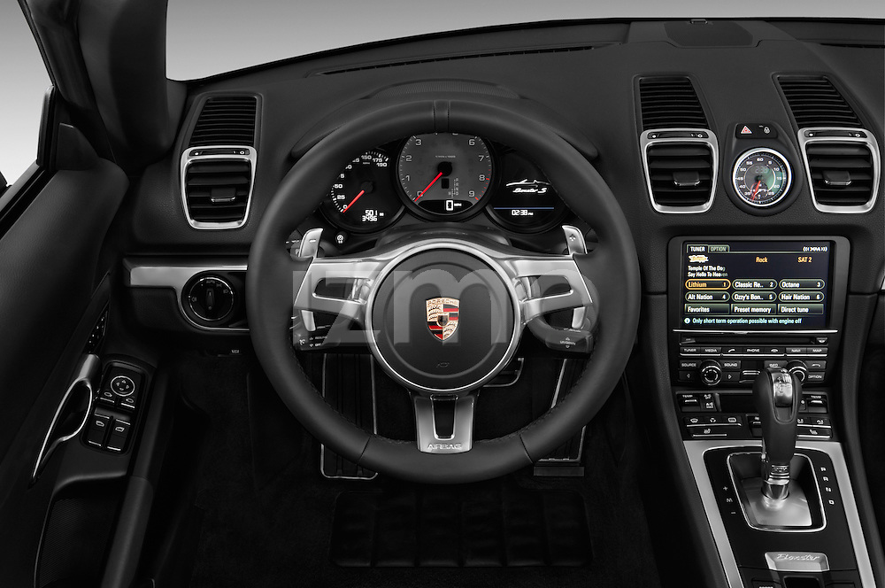 Steering wheel view of a 2013 Porsche Boxster S